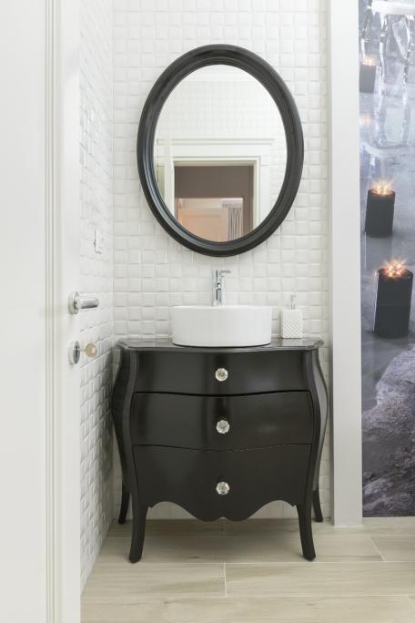 corp mobilier de baie cu sertare si rama oglinda rotunda